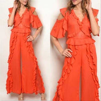 Coral Ruffled Jumpsuit-Pants-Moda Me Couture
