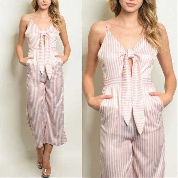 Pink Striped Jumpsuit-Pants-Moda Me Couture