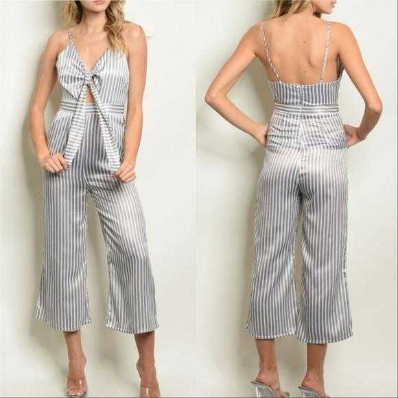 Gray Striped Jumpsuit | MODA ME COUTURE