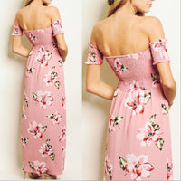 Feminine In Florals Pink Maxi Dress-Dress-Moda Me Couture