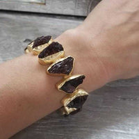 Garnet Handcrafted Cuff Bracelet-Jewelry-Moda Me Couture