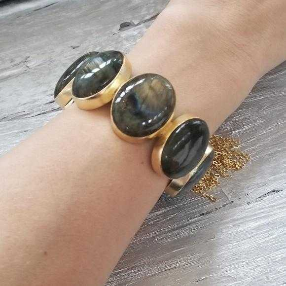Labradorite Polished Handcrafted Cuff Bracelet-Jewelry-Moda Me Couture