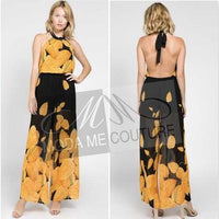 Stunning Floral Jumpsuit Yellow-Pants-Moda Me Couture