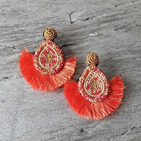 Beads & Tassel Earrings Coral-Jewelry-Moda Me Couture