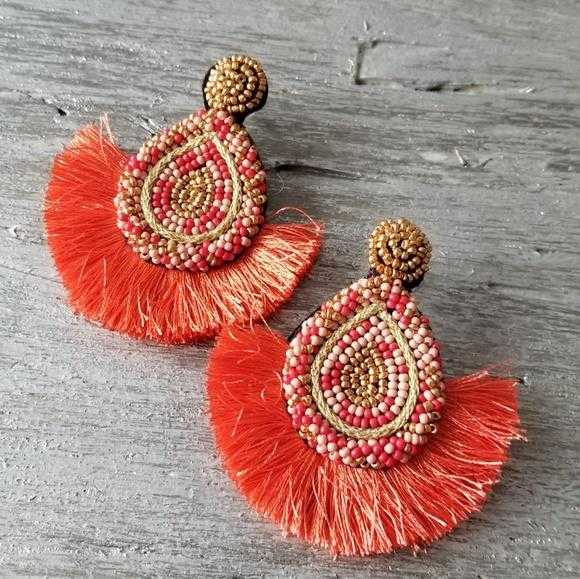 Beads & Tassel Earrings Coral | Moda Me Couture