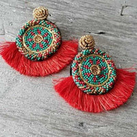 Beads & Tassel Earrings Red-Jewelry-Moda Me Couture