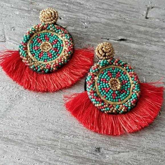 Beads & Tassel Earrings Red | Moda Me Couture