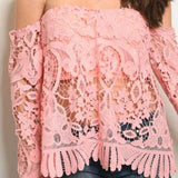 Rose Pink Crochet Top-Tops-Moda Me Couture