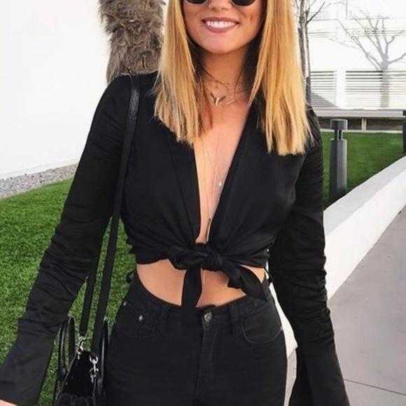 Black Tie Front Top | MODA ME COUTURE