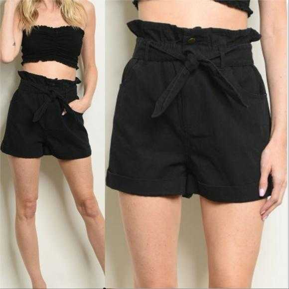 HIGH WAISTED BLACK DENIM SHORTS | MODA ME COUTURE