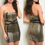 Sequin Striped Mini Dress | MODA ME COUTURE