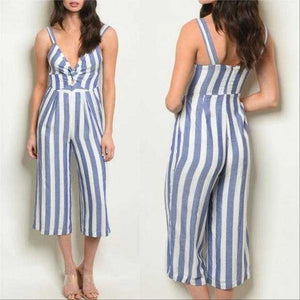 Blue Striped Jumpsuit | MODA ME COUTURE