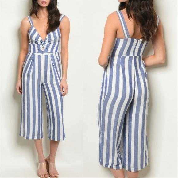 Blue Striped Jumpsuit-Pants-Moda Me Couture