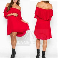 Shara Red Off Shoulder Dress-Dress-Moda Me Couture