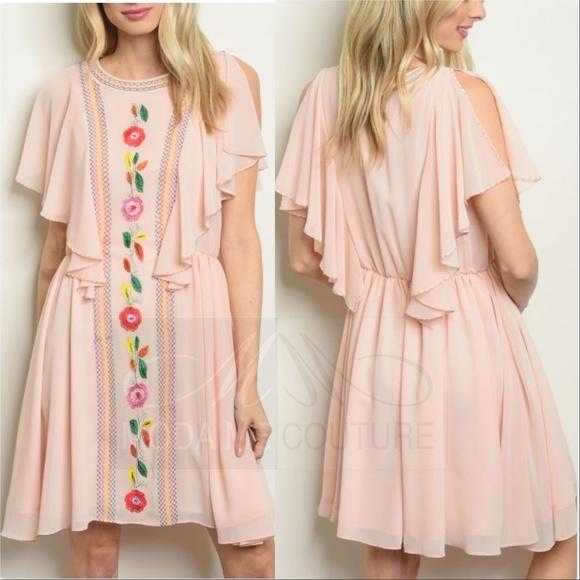 Embroidered Blush Dress-Dress-Moda Me Couture