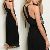 Maxi Black Embroidery Dress-Dress-Moda Me Couture