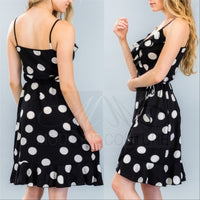 Black Polka-Dot Wrap Dress-Dress-Moda Me Couture