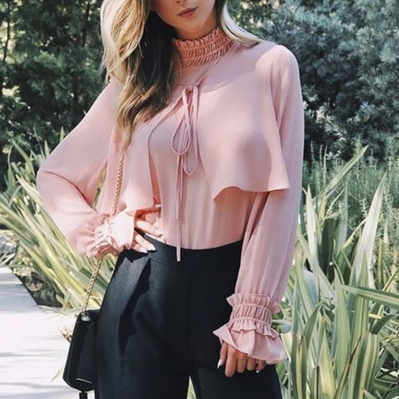 Chic As Ever Blush Chiffon Blouse-Tops-Moda Me Couture ®