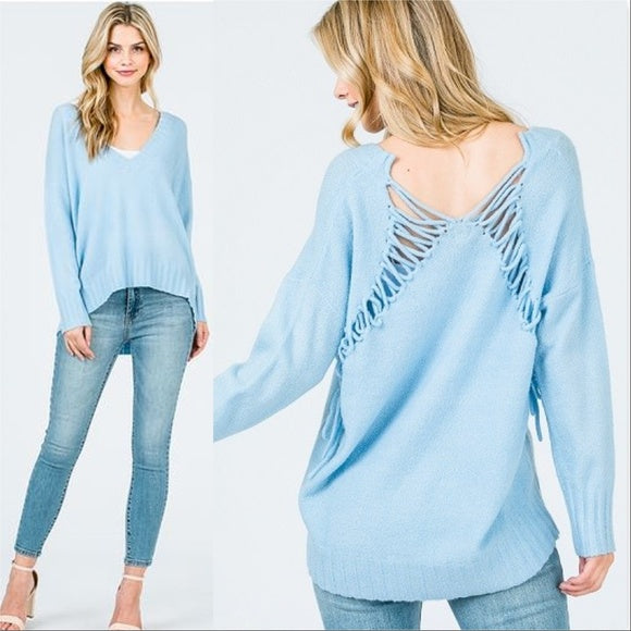 Powder Blue Lace Back Sweater-Sweater-Moda Me Couture