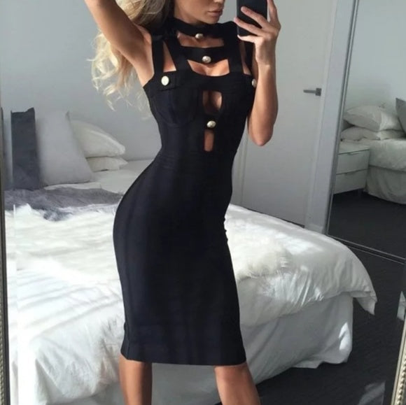 Alyona Bandage Bodycon Dress-Dress-Moda Me Couture