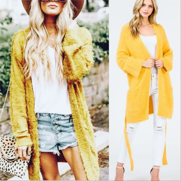 CINDY Soft Fuzzy Cardigan - Yellow-Sweater-Moda Me Couture