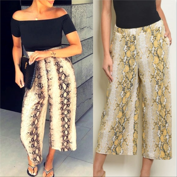 Yellow Cobra Print Culottes-Pants-Moda Me Couture