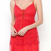 Red Lace Maxi Dress-Dress-Moda Me Couture