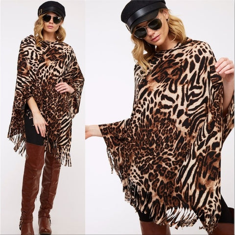 Animal Print Poncho Top