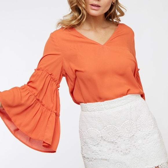 FIESTA Flared Sleeved Blouse-Tops-Moda Me Couture