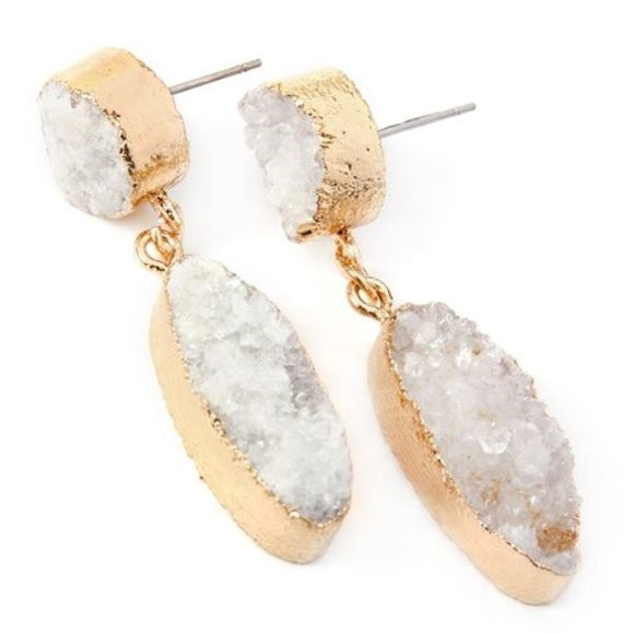 Druzy Drop Earrings Clear-Jewelry-Moda Me Couture