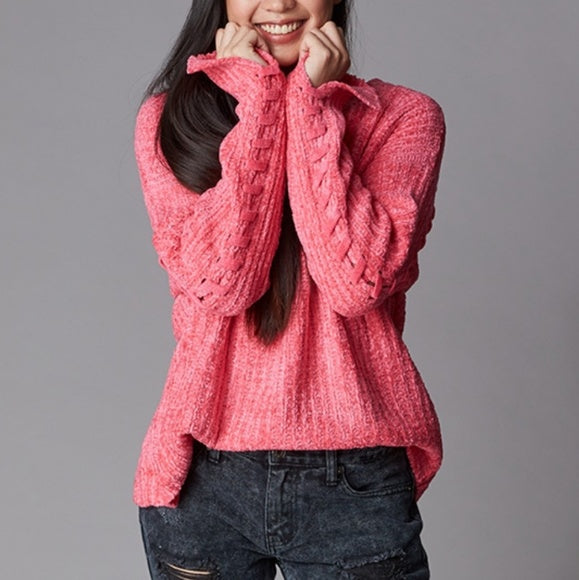 Pink Chenille Sweater-Sweater-Moda Me Couture