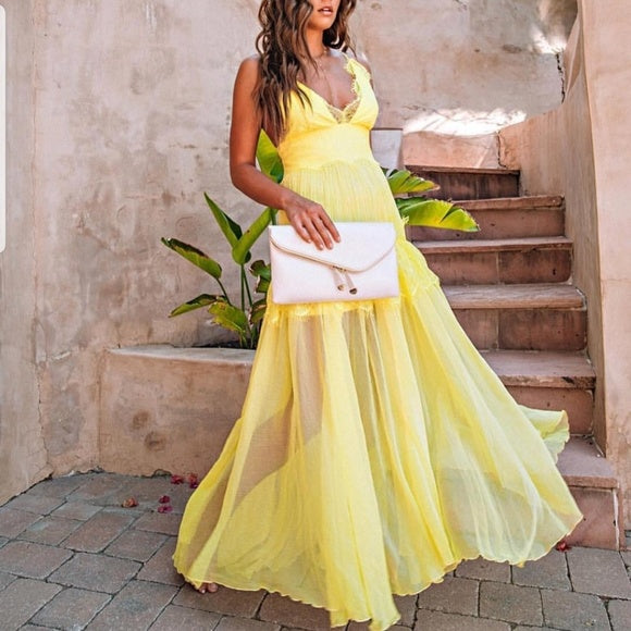 Ray Of Sunshine Yellow Maxi Dress-Dress-Moda Me Couture