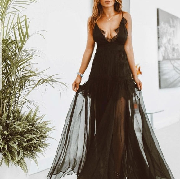 MIdnight Romance Black Maxi Dress-Dress-Moda Me Couture