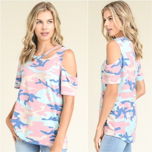 Army Print Top Blush