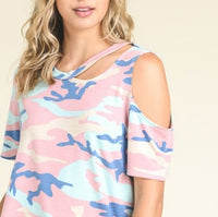 Army Print Cut Out Tee - Pink-Tops-Moda Me Couture