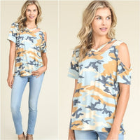 Army Print Cut Out Tee - Blue-Tops-Moda Me Couture