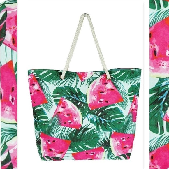 Watermelon Print Tote-Accessories-Moda Me Couture