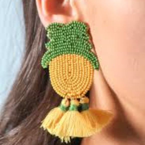 Pineapple Earrings-Jewelry-Moda Me Couture