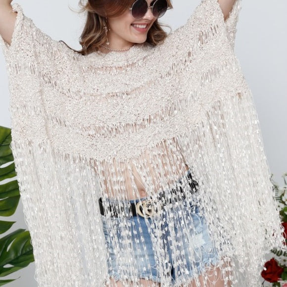 Angela Fringe Top Beige-Tops-Moda Me Couture