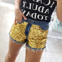 Sequin Front Denim Shorts-Pants-Moda Me Couture