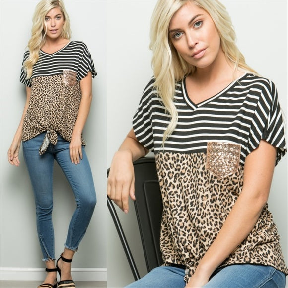 Top Leopard Stripes