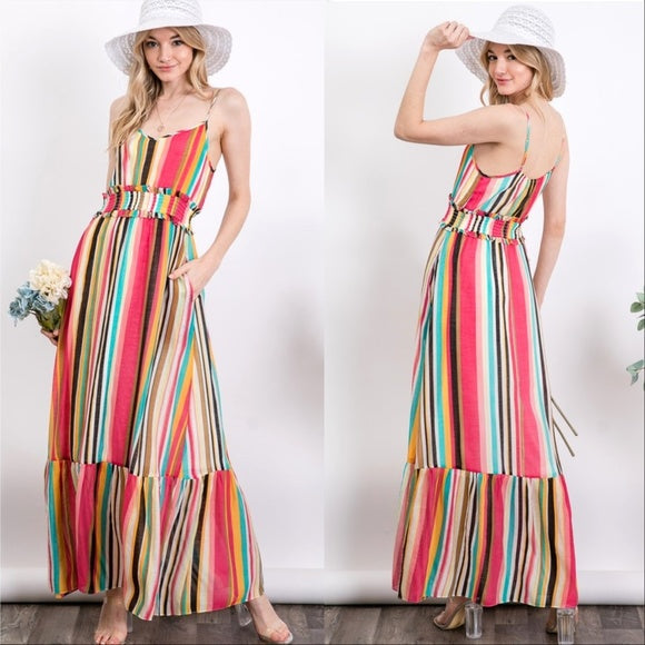Festival Fun Striped Maxi Dress-Dress-Moda Me Couture