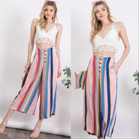 Striped Cropped Pants-Pants-Moda Me Couture