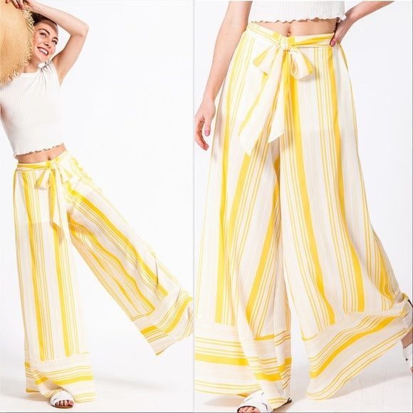 Palazzo Pants White and Yellow