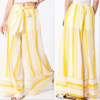 Palazzo Pants White and Yellow-Pants-Moda Me Couture