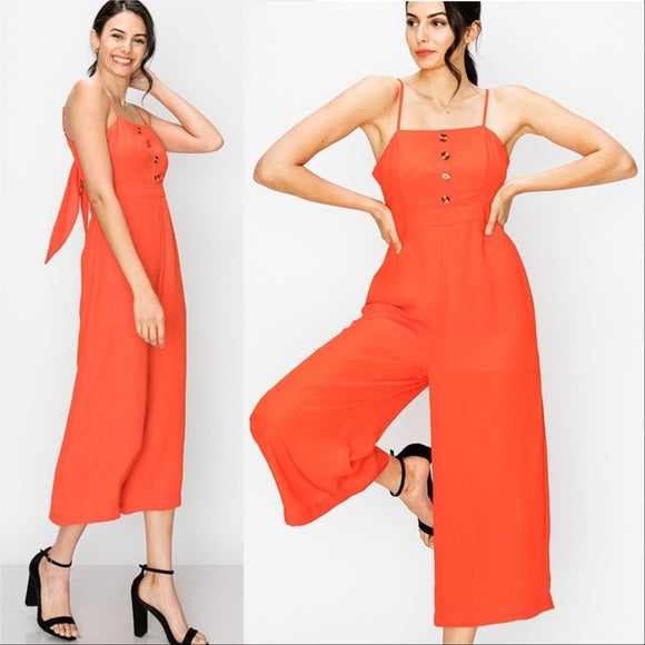 Cropped Coral Jumpsuit