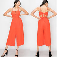 Cropped Coral Jumpsuit-Pants-Moda Me Couture