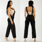 Black Lace Jumpsuit Overalls-Pants-Moda Me Couture