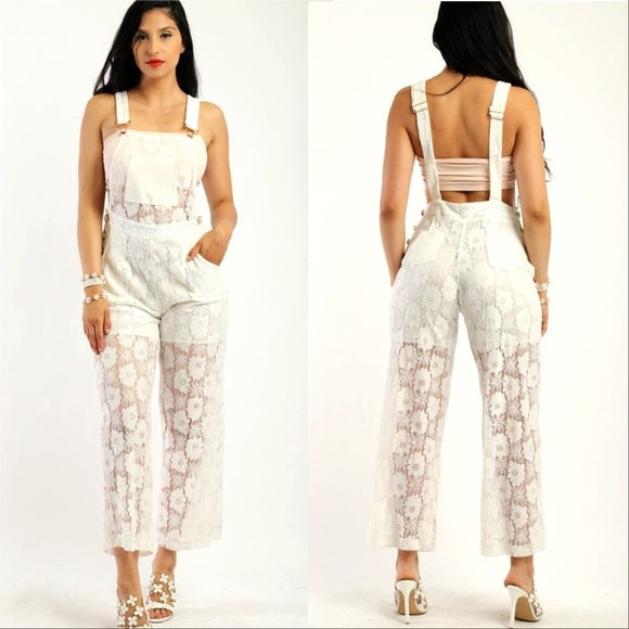 White Lace Jumpsuit Overalls
