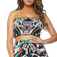 Printed 2 piece Cropped top and Pants Set-Pants-Moda Me Couture